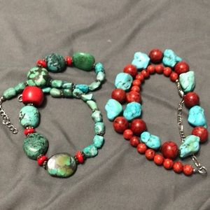 """2 18"""" turquoise & coral necklaces"""